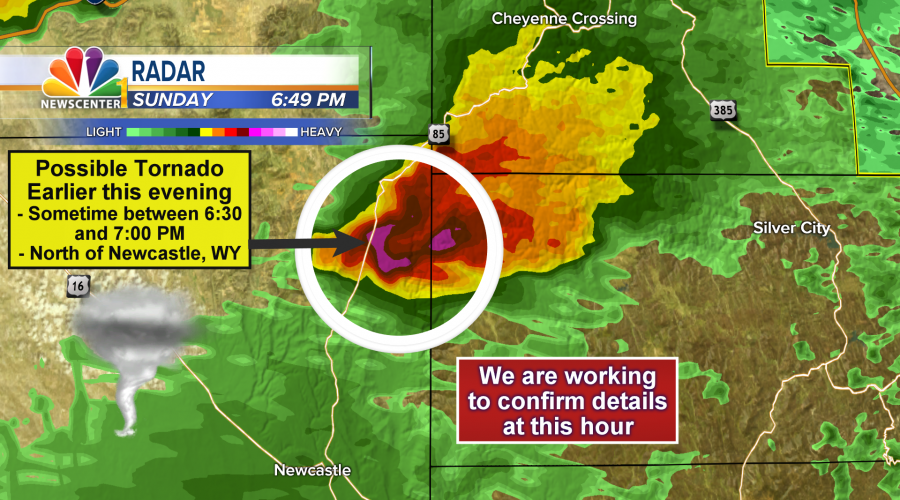 Possible tornado north of Newcastle, WY Sunday evening