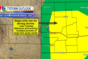 Strong storms likely North & East of the Black Hills late Tuesday