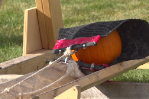 One more toss for SDSMT's Pumpkin Chunkin contest