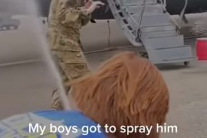 WATCH: young girl marshalls in her Airman dad after his final flight