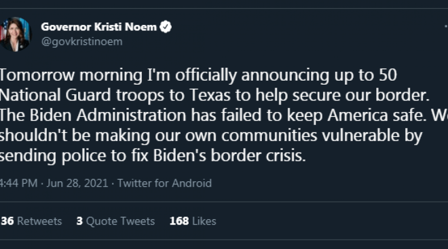 Noem sending SD National Guard troops to U.S. southern border